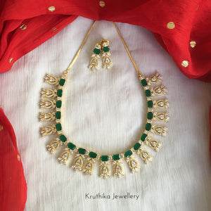 Gold finish CZ necklace NC196