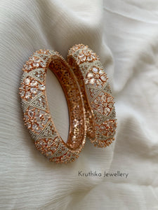 Rich Rose gold AD bangles B34