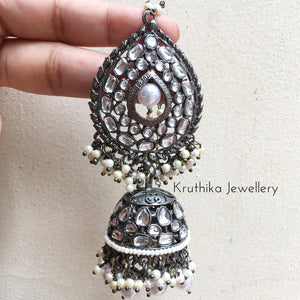 Grand Black polish Jhumkas with earchains