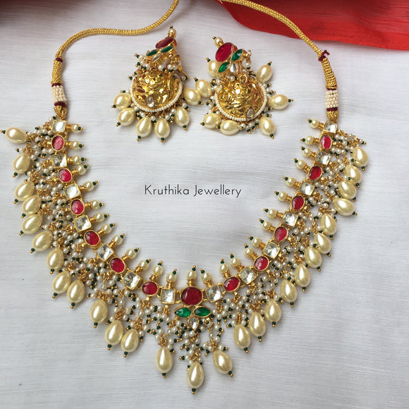 High quality Ahmedabadi Kundan pearl drop necklace set