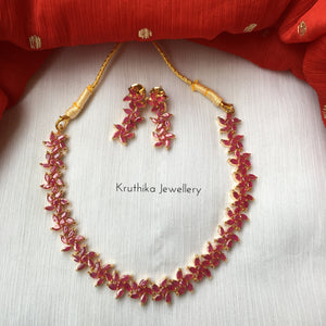 Premium quality Simple ruby necklace set