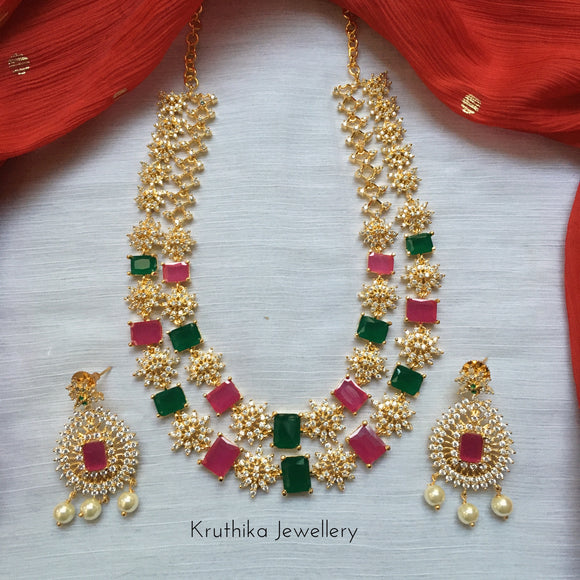 Two layer gold finish CZ necklace NC145