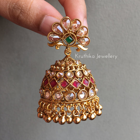 Beautiful Big CZ Jhumkas
