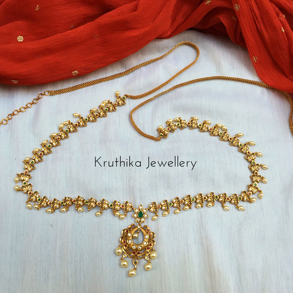 Matte finish chandbali hip chain