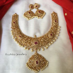 Cutwork CZ ruby necklace NC110