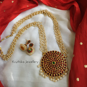 Pearls maala with big surya kemp pendant