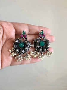 Multi stone Pearl drop earrings