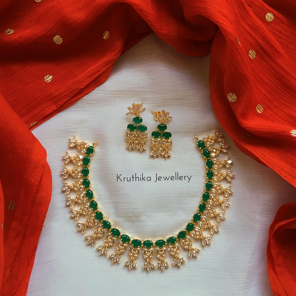 Rich CZ emerald necklace set