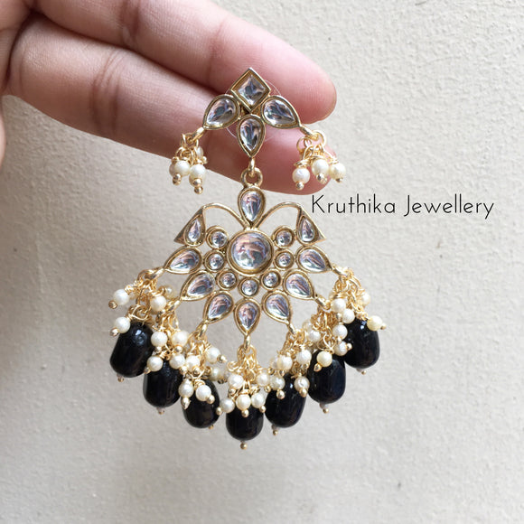 Kundan bead drop earrings