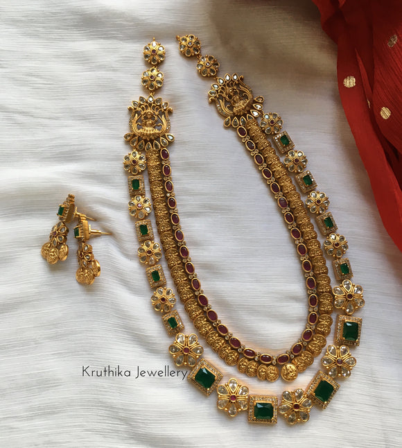Designer Two layer Emerald Kasu Goddess haaram LH1