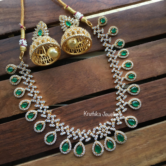 Gold finish CZ necklace NC83