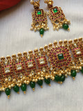 Square Kundan choker with green beads NC165