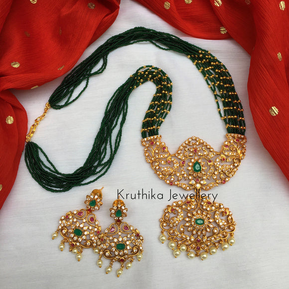 High quality Green beads maala with beautiful pendant