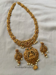 Pearls necklace with real kemp pendant NC245