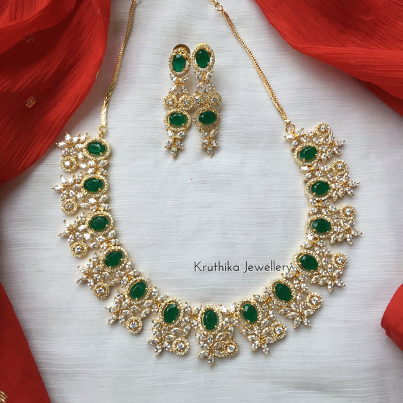 Gold finish emerald necklace set NC45