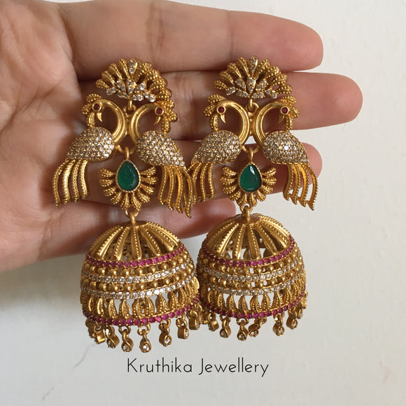 Premium quality double peacock Jhumkas
