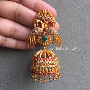 Big double peacock bridal Jhumkas E32