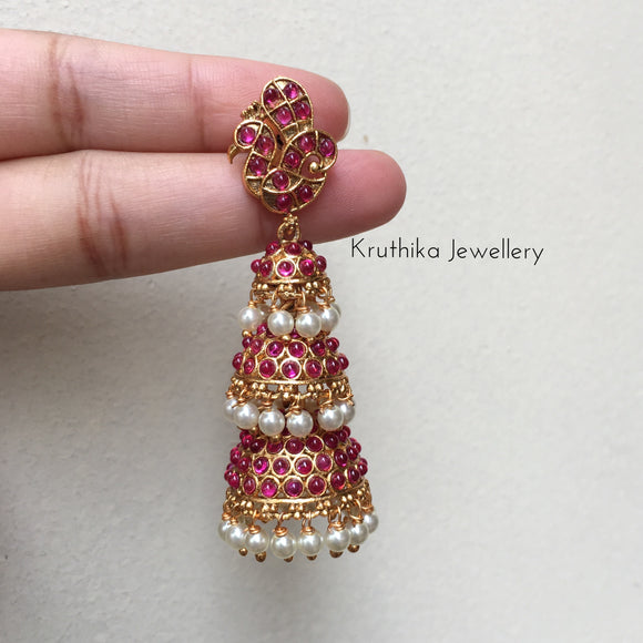 Three layer peacock Jhumkas E48