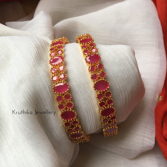 Gold finish Ruby bangles