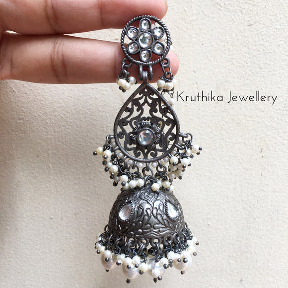 Grand Three layer Black polish Jhumkas
