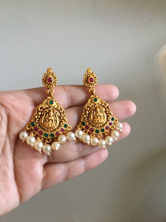 Multi stone Lakshmi Devi earrings