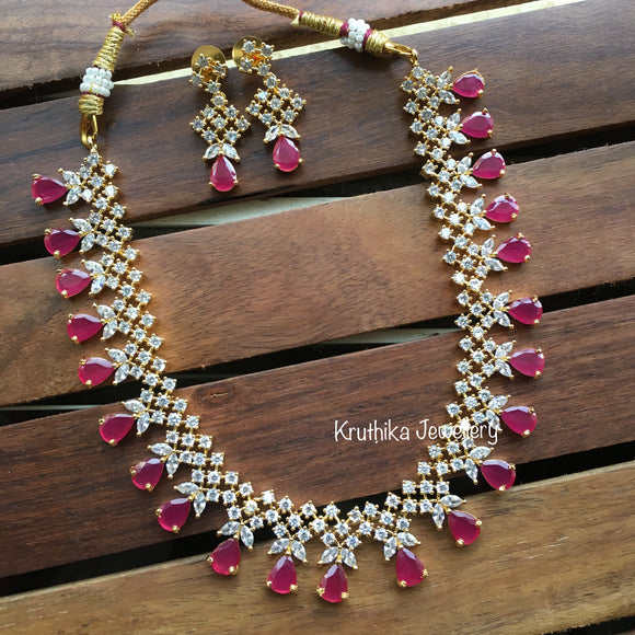 Simple gold finish Ruby necklace NC84