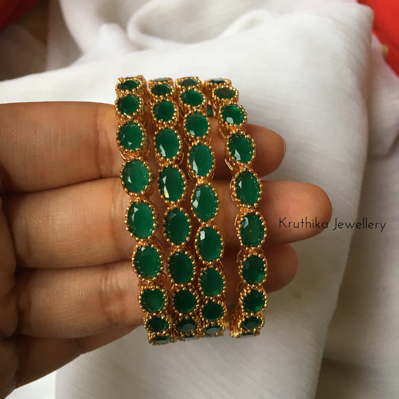 Gold finish Emerald bangles B2