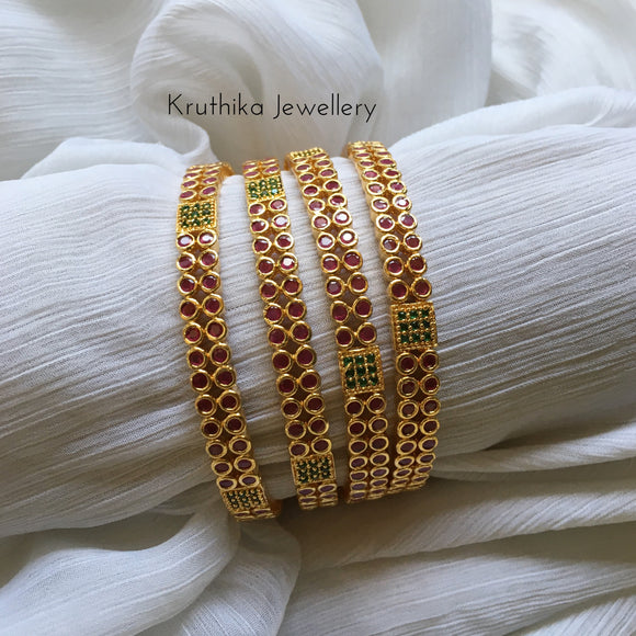 Gold finish bangles set
