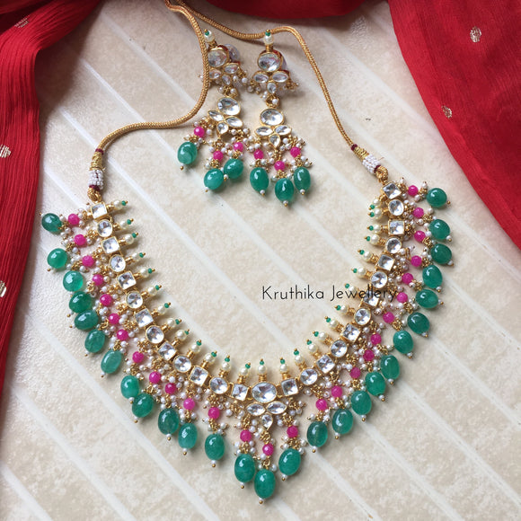 Ahmedabadi kundan necklace set with pearls and beads KN2