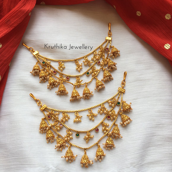 Three layer jhumka earchains