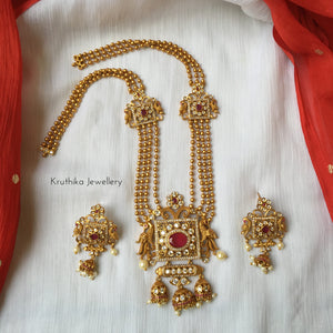 Four line balls haaram with square pendant