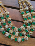 Gold like three layer Emerald CZ designer Necklace NC81