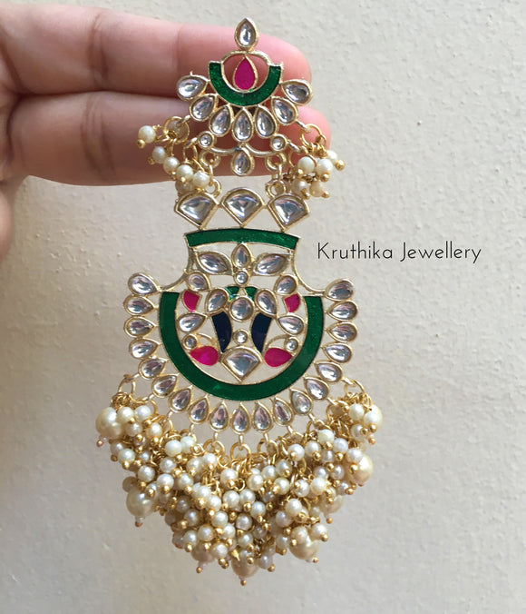 Long enamel kundan chandbalis