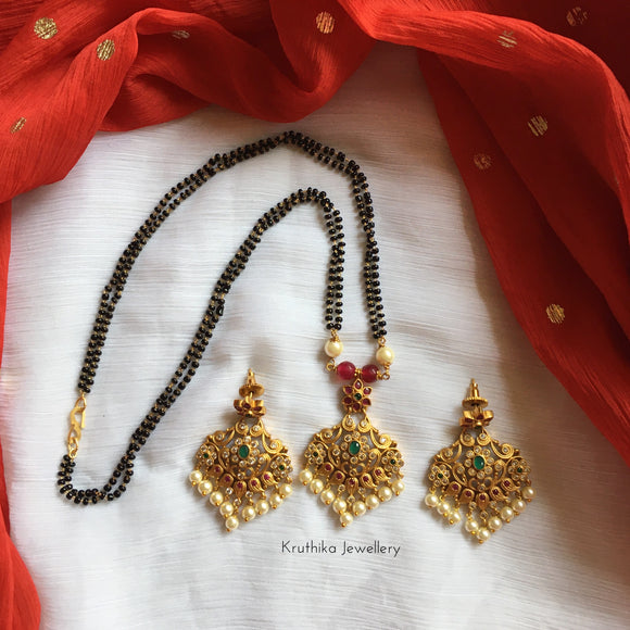 Nallapoosalu with pendant set