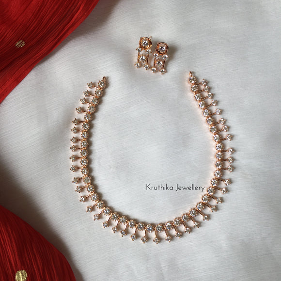 Rose gold CZ necklace NC47