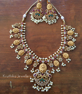 Lakshmi devi coin necklace set