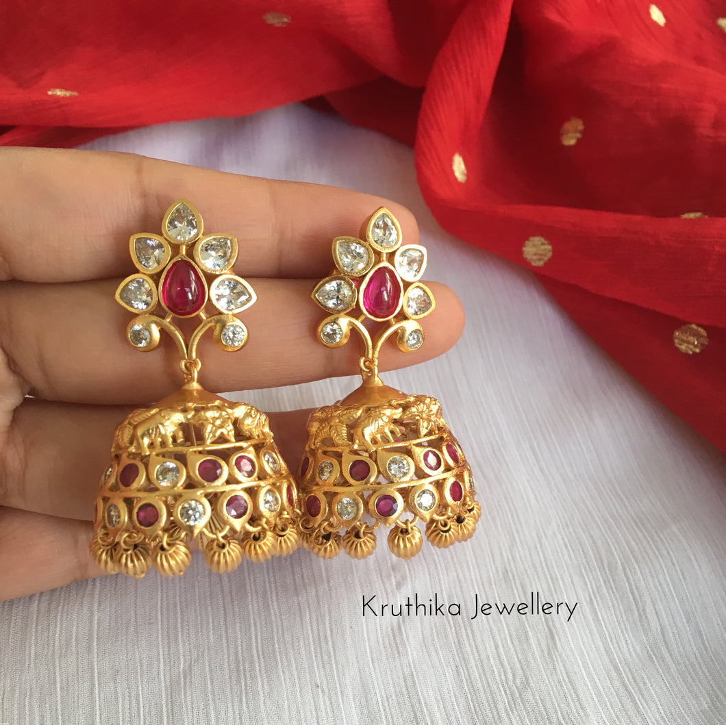 Tear drop elephant Jhumkas E84
