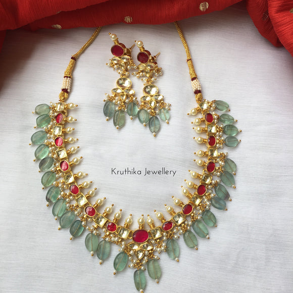 Ahmedabadi kundan necklace set with flourite drops KN4