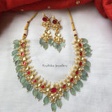 Ahmedabadi kundan necklace set with flourite drops