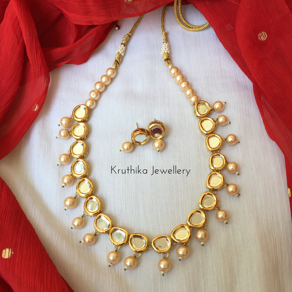 Kundan pearl necklace set