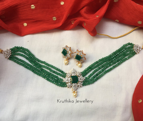 Green Beads choker with CZ emerald pendant