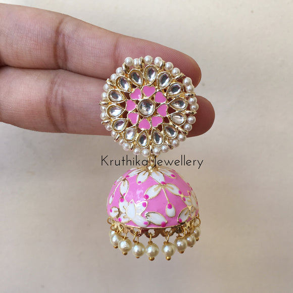 Enamel pearl drop Jhumkas (colors available)
