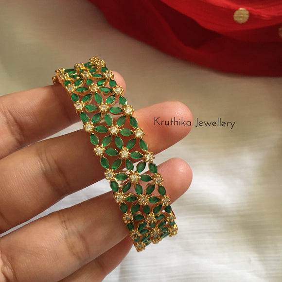 Gold polish CZ stone kada (open type)