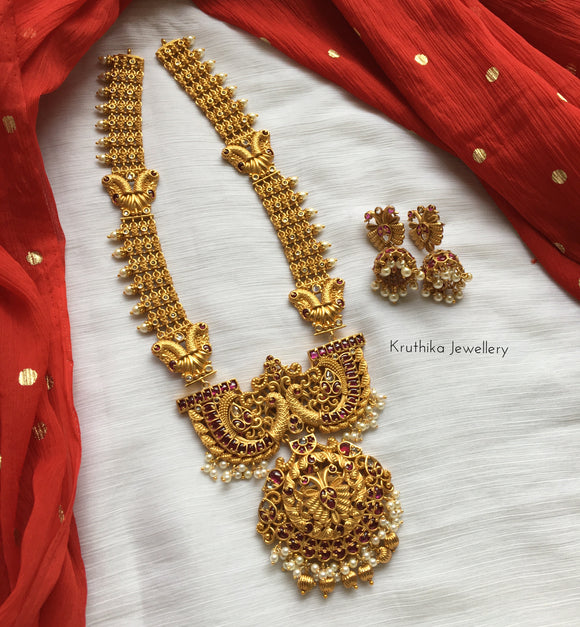 Gold like Grand kemp stones bridal haaram