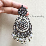 Grand Black Polish Brass metal Chandbalis with pearl earchains