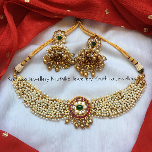 Pearl necklace with kempu pendant NC65