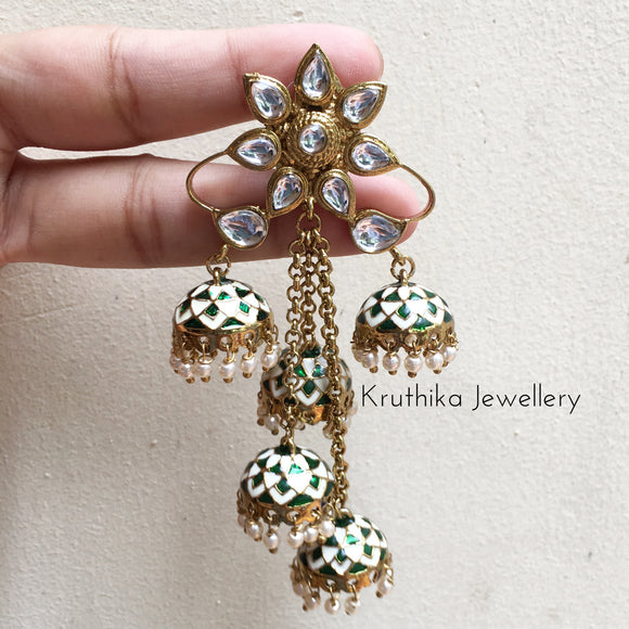 Long Kundan jhumka drop earrings
