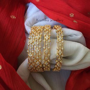 CZ gold finish bangles