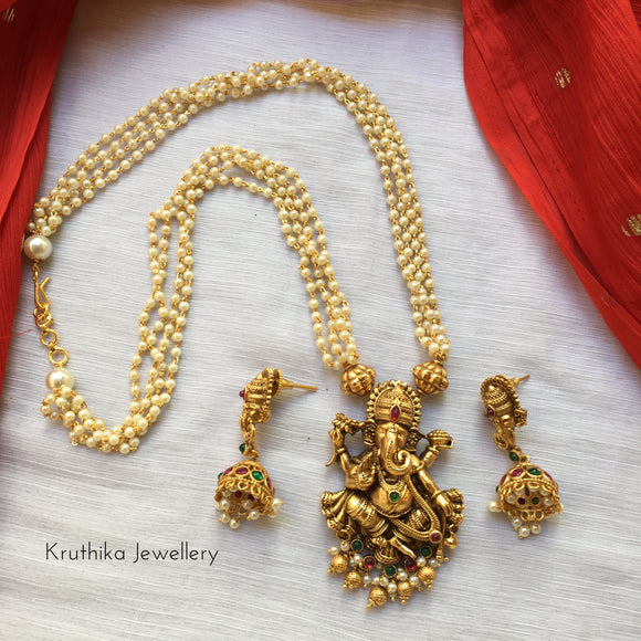 Pearls haaram with Ganapathi pendant NC155