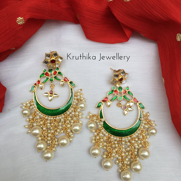 Long Kundan enamel earrings